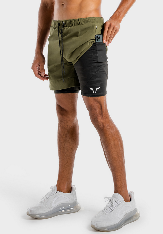 Limitless 2 In 1 Shorts – Khaki And Black