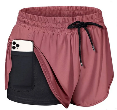 Womens 2 In 1 Running Shorts Athletic Bottoms With Phone Pocket