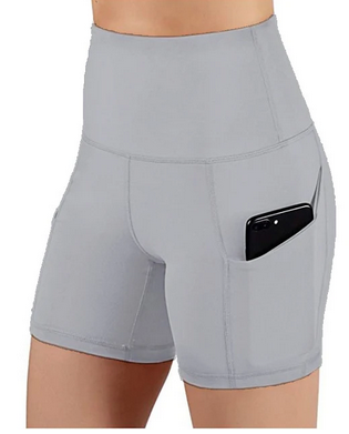 Womens Compression Shorts Running Tight Shorts Street Base Layer Bottoms With Phone Pocket