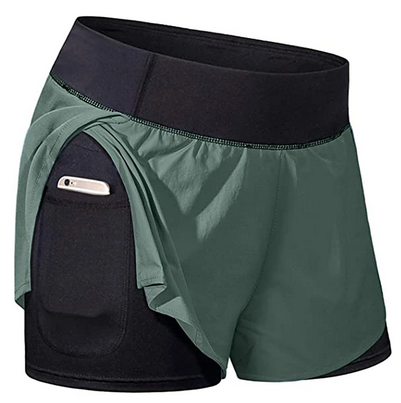 Womens Running Shorts Athletic Shorts Bottoms 2 In 1 With Phone Pocket